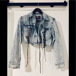 Vintage cropped jean jacket w/ leather ties